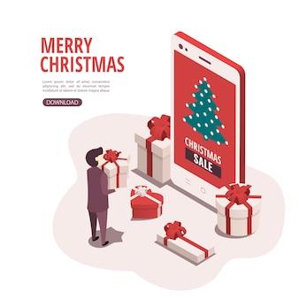 O conceito de comprar presentes de natal através de um aplicativo móvel.