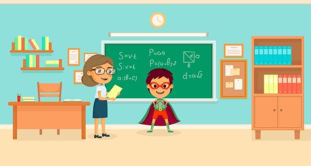 O conceito de desenhos animados de super-heróis infantis com o menino na sala de aula resolveu todas as equações na ilustração do quadro