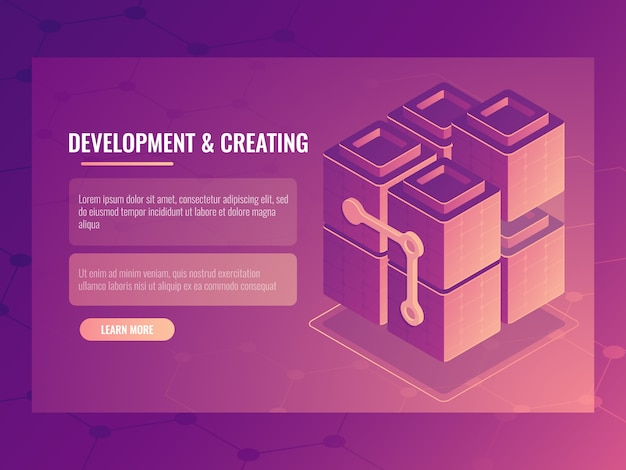 O conceito de desenvolvimento e criação, construtor de blocos, sala de servidores de tecnologia digital