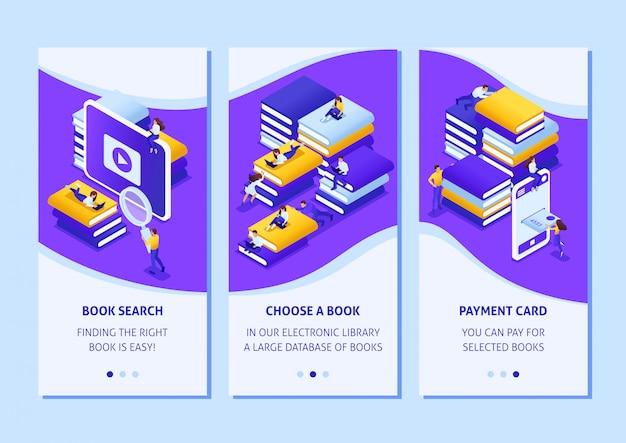 O conceito de design de aplicativo de modelo isométrico escolhe o livro certo em nossos aplicativos de smartphones da biblioteca. fácil de editar e personalizar