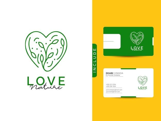 O conceito de design de logotipo de beleza da natureza inclui um cartão de visita moderno