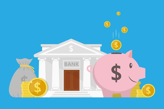 O conceito de economizar ou economizar dinheiro ou abrir um depósito bancário