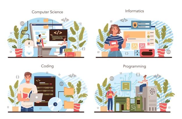 O conceito de educação de ti define o software de escrita do aluno e cria o código