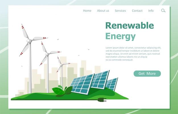 O conceito de energia renovável do sol e turbinas eólicas. página inicial de recursos de energia verde. ilustração em um estilo simples.