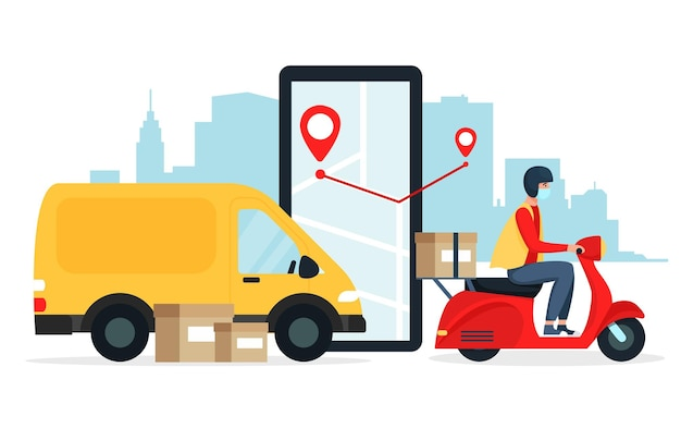 O conceito de entrega segura, pelo mesmo carro, scooter vermelha, ciclomotor, motocicleta. ilustração em estilo simples
