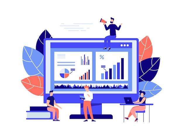 O conceito de estatísticas de gestão financeira e relatório de negócios ilustrações de negócios