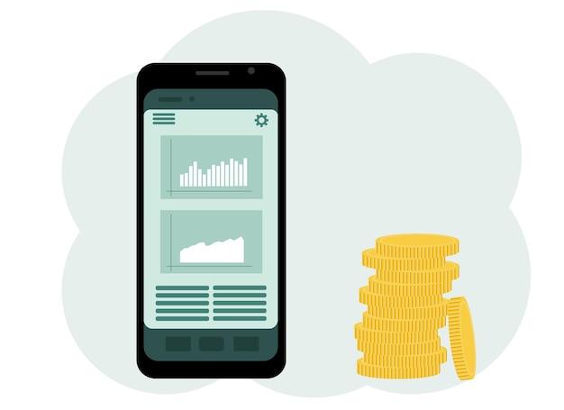 O conceito de jogo online na bolsa de valores. telefone com gráficos e um monte de moedas ao lado