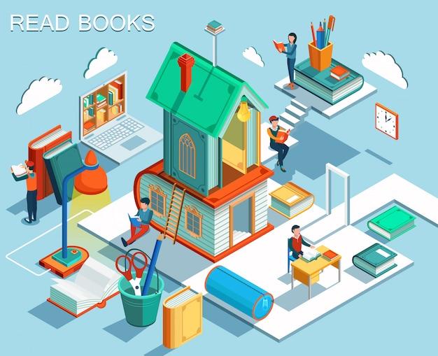 O conceito de ler livros e aprender na biblioteca. design plano isométrico.