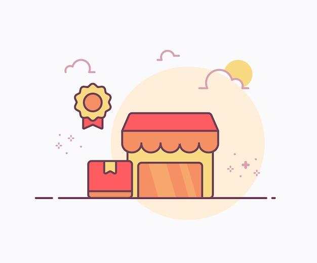 O conceito de loja mais vendido em torno do ícone da fita do crachá da embalagem da caixa com ilustração de design de vetor de estilo de linha sólida de cor suave