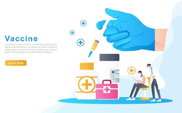 O conceito de médicos fazendo o processo de vacinação e medicamentos necessários para tratar doenças.