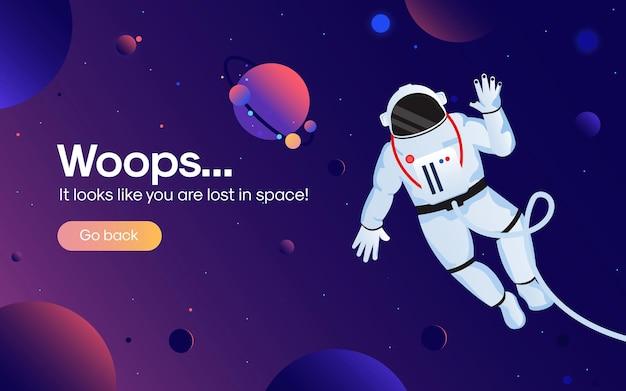 O conceito de página da web de erro 404 com astronauta no espaço aberto entre diferentes planetas