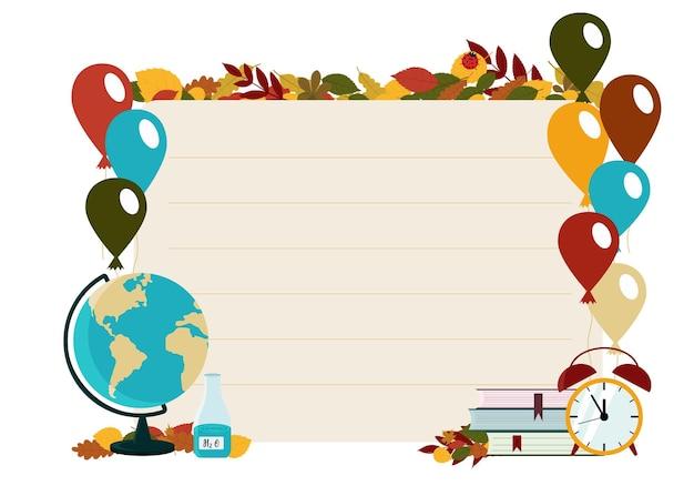 O conceito de panfletos com o tema de volta às aulas. papel de carta no fundo de uma folha de caderno