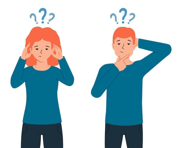 O conceito de pessoas pensantes. ilustração em vetor de personagens com pontos de interrogação