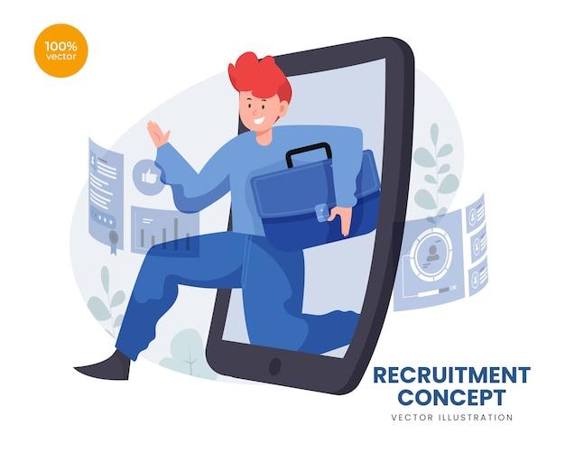 O conceito de recrutamento de emprego com trabalhador é contratado online