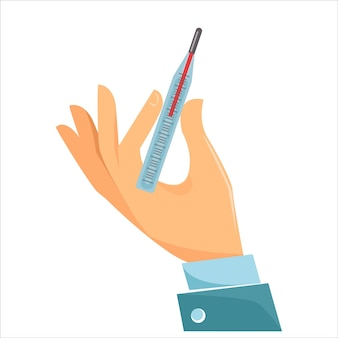 O conceito de remédio e cura para doenças e resfriados uma mão segura um mercúrio