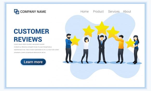 O conceito de resenhas de clientes com pessoas diferentes fornece classificação e feedback com resenhas de estrelas. ilustração