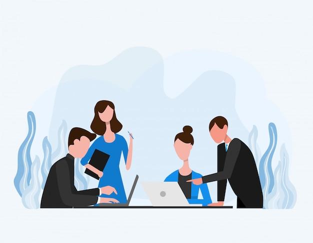 O conceito de trabalhadores de escritório e empresário fazem uma discussão em grupo
