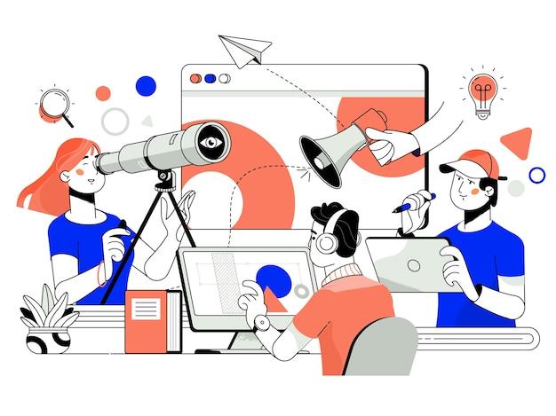 O conceito de trabalho em equipe conjunto, construção, equipe de negócios