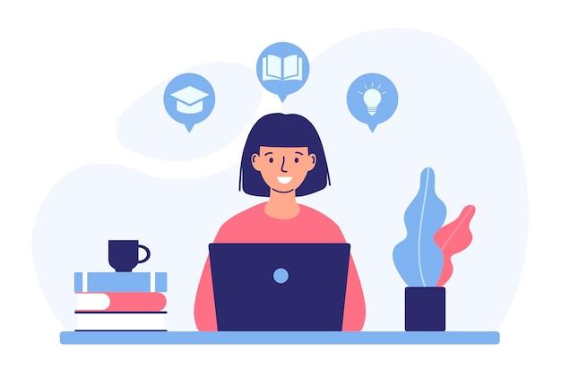 O conceito de treinamentos de educação online e tutoriais em vídeo de treinamentos de cursos