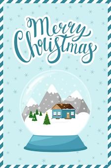 O conceito de um ano novo, cartão de natal com as palavras feliz natal.