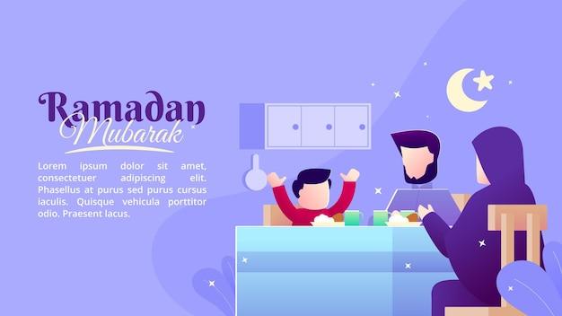 O conceito de uma ilustração plana sobre um jantar com a família na noite do mês de ramadã