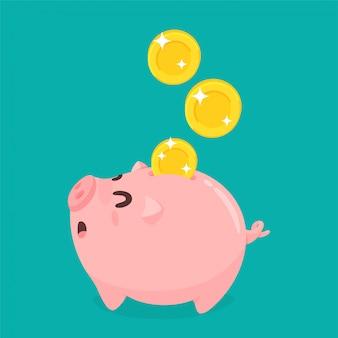 O conceito de usar o dinheiro corretamente economizando dinheiro para o futuro.