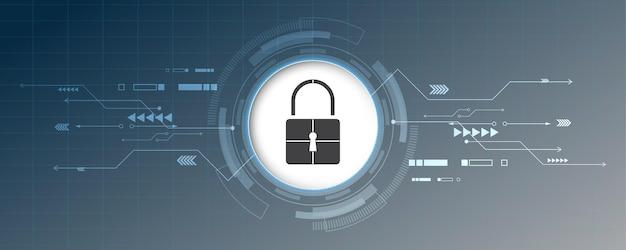O conceito digital cibernético de segurança do cadeado protege a inovação do sistema