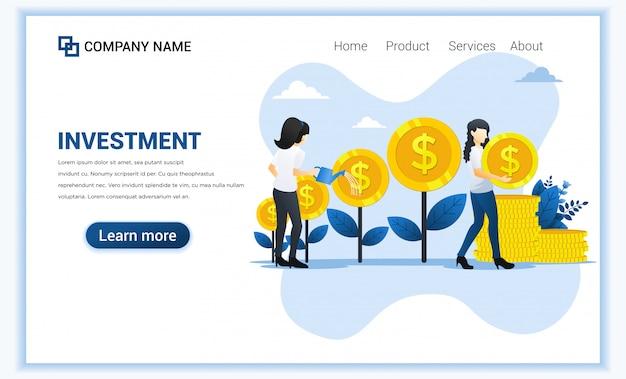 O conceito do investimento de dinheiro com as mulheres que molham a árvore do dinheiro e recolhe a moeda, aumenta o lucro, cresce o negócio.