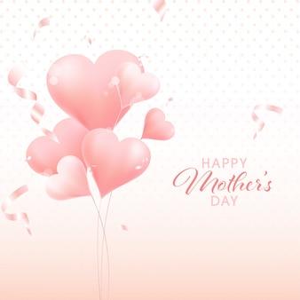 O conceito feliz do dia de mãe com coração cor-de-rosa dá forma a balões no fundo branco.