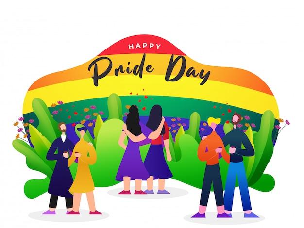 O conceito feliz do dia do orgulho com pares lésbicas e alegres e o arco-íris colorem o fundo, símbolo da liberdade.