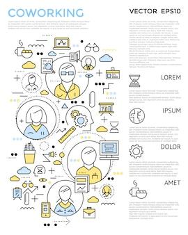 O conceito vertical de coworking colorido com elementos lineares está à esquerda e o texto à ilustração vetorial certa