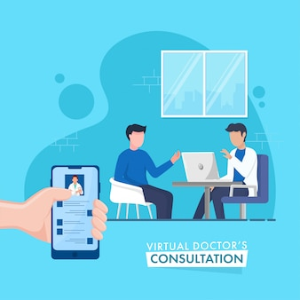 O conceito virtual da consulta do doutor virtual em linha baseou o cartaz, doutor sem cara talking to patient no fundo azul.