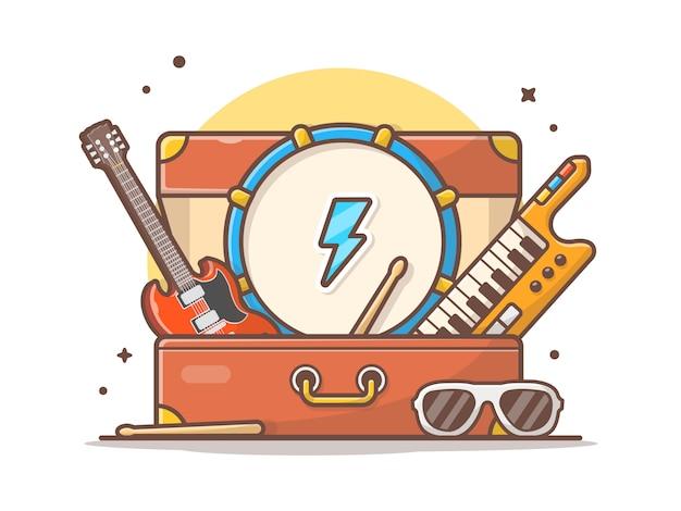 O concerto do instrumento de música executa com ilustração do ícone do vetor da guitarra, do cilindro, do piano e dos vidros. conceito ícone música branco isolado