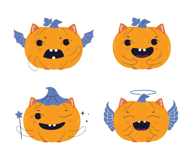 O conjunto de abóboras os personagens são bons para o feliz dia de halloween desenha logotipos mágicos