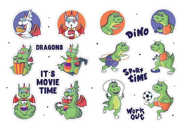 O conjunto de adesivos dragões e dinossauros. os personagens de desenho animado com frases de letras.
