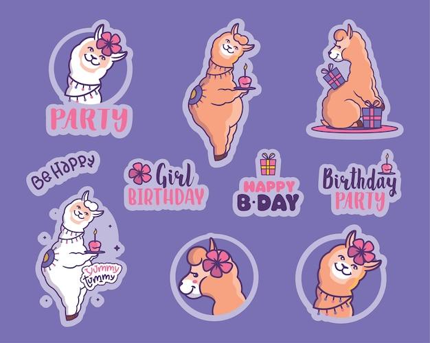 O conjunto de adesivos para festas de meninas a coleção de desenhos animados de lhama com citações de feliz aniversário
