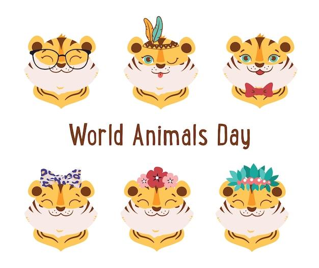 O conjunto de animais selvagens dos desenhos animados os rostos dos tigres da coleção são bons para os designs do dia mundial dos animais