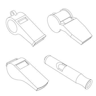 O conjunto de apitos de vetor - ilustração de contorno