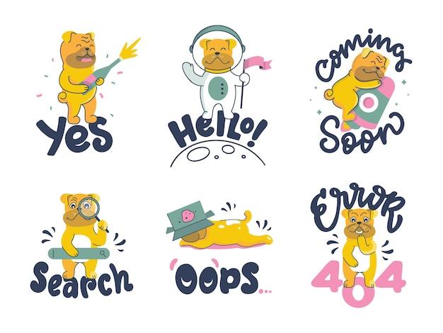 O conjunto de buldogues. coleção de animais dos desenhos animados com frases de letras.