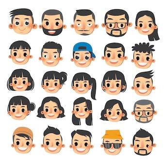 O conjunto de caracteres de homens e mulheres