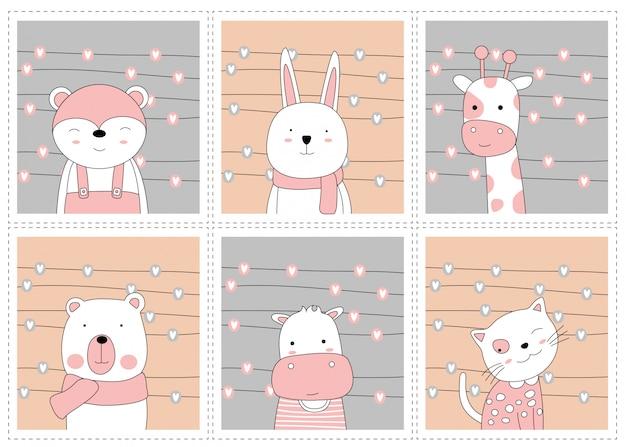 O conjunto de cartão animal bebê fofo