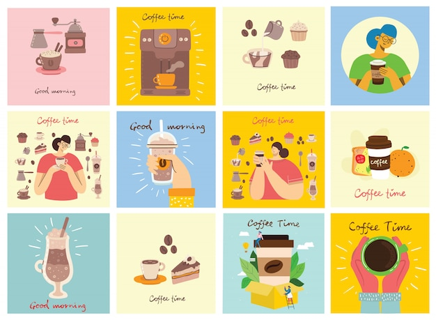 O conjunto de cartões com as mãos segura uma xícara de café escuro preto quente ou bebida, pessoas bebendo café com bolo, com texto escrito à mão, ilustração plana simples.