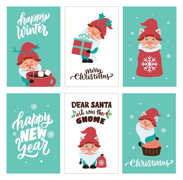 O conjunto de cartões de natal e feliz ano novo com gnomos de inverno com texto é bom para feriados