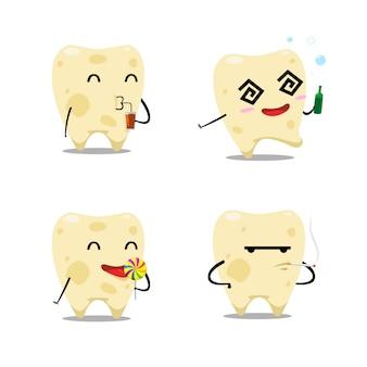 O conjunto de dentes de decaimento. ilustração vetorial isolado