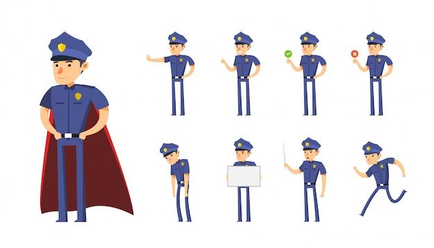 O conjunto de desenhos animados de policial. ilustração vetorial