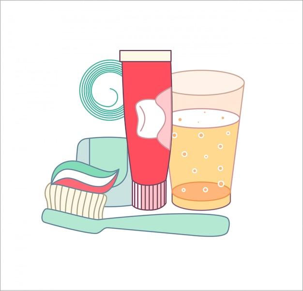 O conjunto de elementos agrupados de higiene