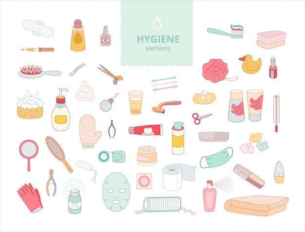 O conjunto de elementos de higiene no fundo branco,