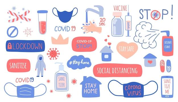 O conjunto de elementos do conceito de coronavírus, proteção, higiene e medicamento. ilustrações desenhadas à mão, adesivos, inscrições e símbolos da pandemia.