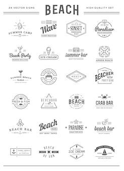 O conjunto de elementos vetoriais da barra de praia do mar e verão pode ser usado como logotipo ou ícone de qualidade premium