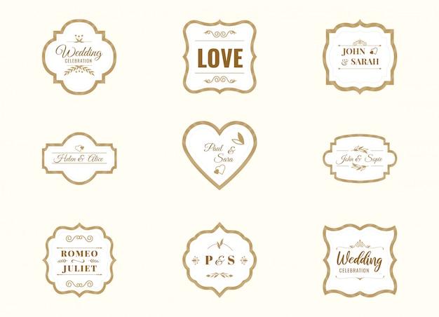 O conjunto de etiquetas de casamento